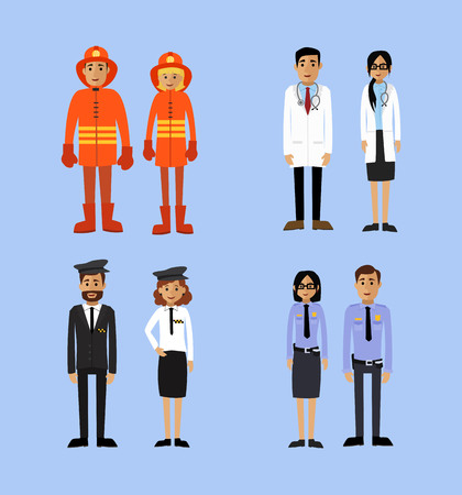 Patterns of policemen, firemen, doctors and taxi drivers. Vector illustration.