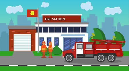 消防車と消防署の組成  イラスト・ベクター素材