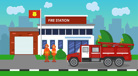 The composition of the fire truck and fire station