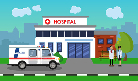 The ambulance opposite the of the hospital. Vector illustration.