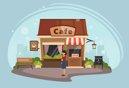 Girl on the background of a building cafe. Vector illustration.