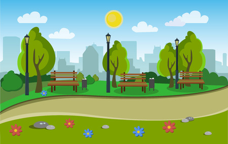 Landscape of the city park Illustration