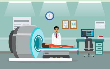 Doctors and patients in the hospital. Illustration