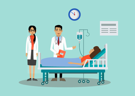 The patient is at the doctor's and admitted at the hospital. Vector illustration. 일러스트