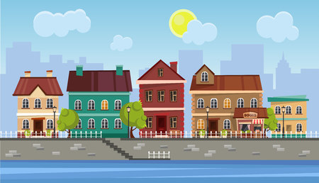 The landscape of the historic city. Vector illustration.
