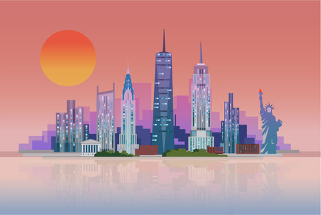 The landscape of skyscrapers of New York City with the statue of liberty. Vector flat illustration . Stock Vector - 96728516