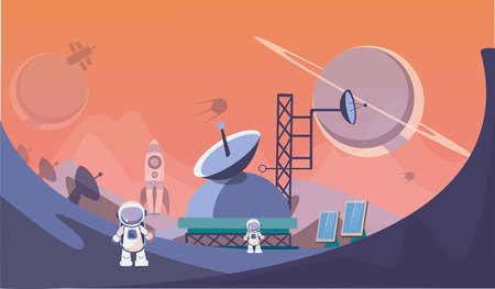 The man on Mars. Against the background of shuttles, spacecraft and satellites. Vector illustration. Foto de archivo