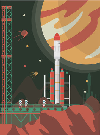 The man on Mars. Against the background of shuttles, spacecraft and satellites. Vector illustration. Stockfoto