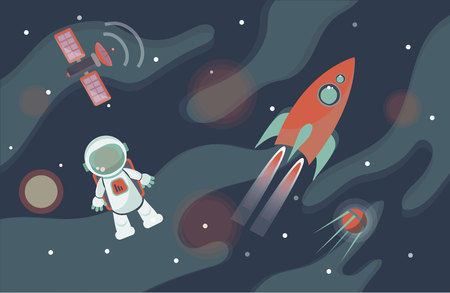 Astronaut in space against the background of stars and planets. Vector illustration.
