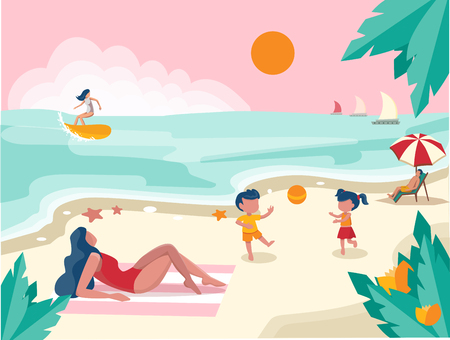 People spending their holidays on the beach Stock Illustratie