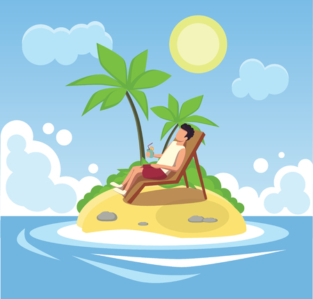 Conceptual composition. A man is resting on a desert island. Stock Illustratie