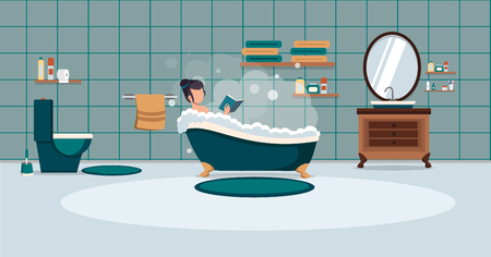 A man washes in the bathroom with foam. Bathroom interior. Vector illustration.