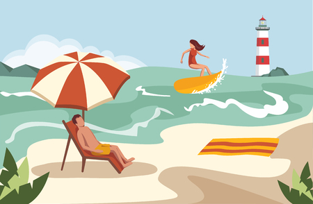 People spend their holidays on the beach under the palm trees Stock Illustratie
