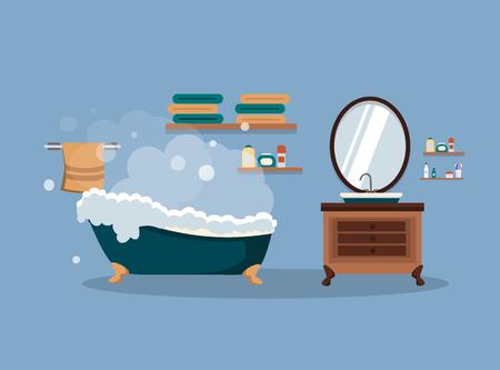 Bathroom with furniture. Bathroom interior. Vector illustration.