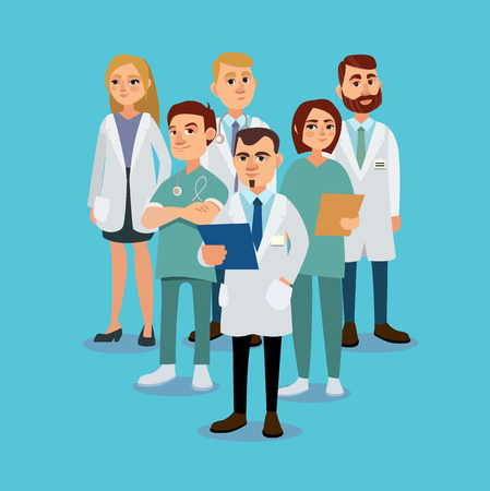 Stylish and positive team of doctors. Vector illustration.