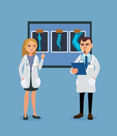 Doctors discuss the patients medical history. Vector illustration Vectores