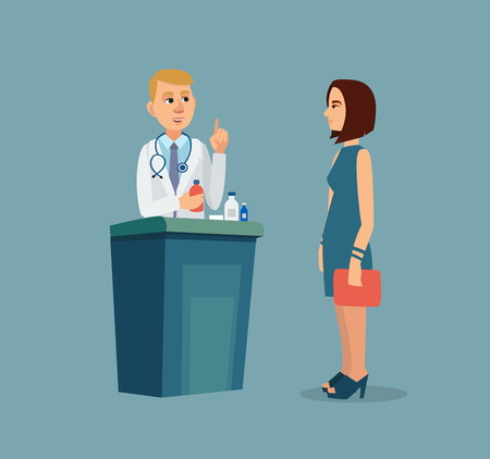 The patient is at the doctors reception. Vector illustration. Stock Illustratie