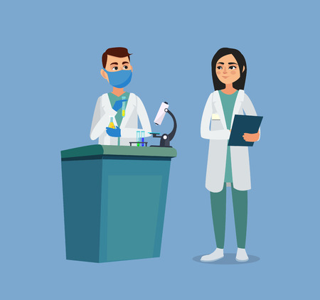 Doctors discuss the patients medical history. Vector illustration Stockfoto