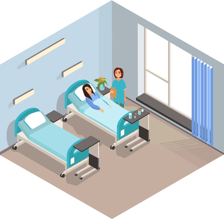 The patient is at the doctors reception. Vector illustration. Vectores