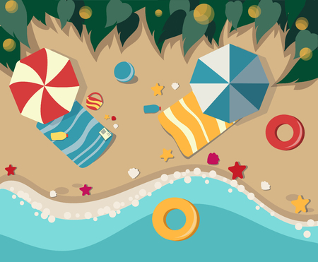 Sandy beach with leisure items. View from above. Vector illustration. Stock Illustratie