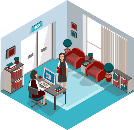 Business woman. Reporting to the boss. Vector illustration.