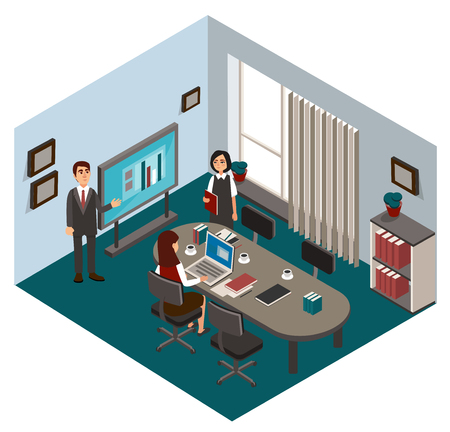 Typical working day in the office. Vector illustration.