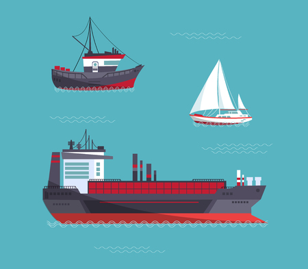 A yacht, a cargo ship, a fishing vessel in one collection. Vector illustration. Vectores