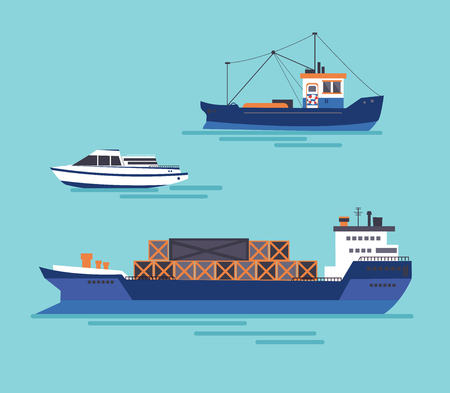 A yacht, a cargo ship, a fishing vessel in one collection. Vector illustration. Stock Illustratie