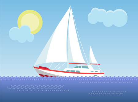 Yacht in the sea on the background of the sunny sky. Vector illustration. Stock Illustratie