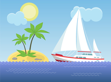 Yacht in the sea on the background of the sunny sky and sand beach. Vector illustration. Stock Illustratie
