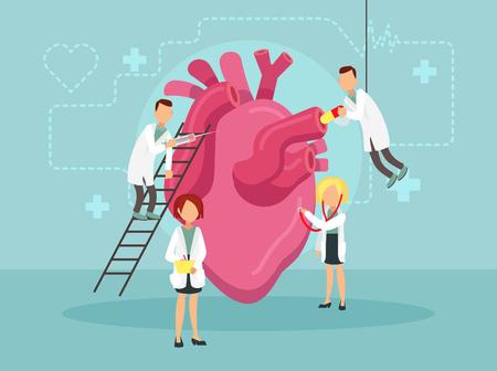 Doctors treat a sick heart. Vector illustration.