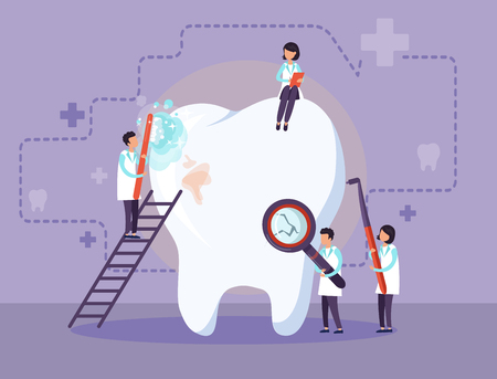 Doctors treat a sick tooth. Vector illustration.