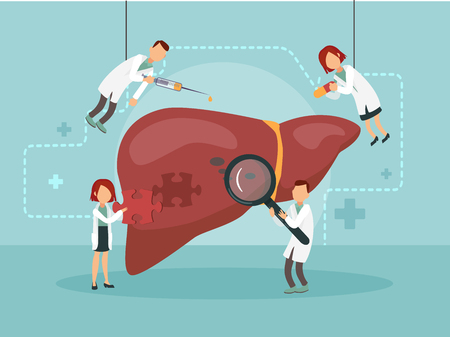 Doctors treat a sick liver. Vector illustration.