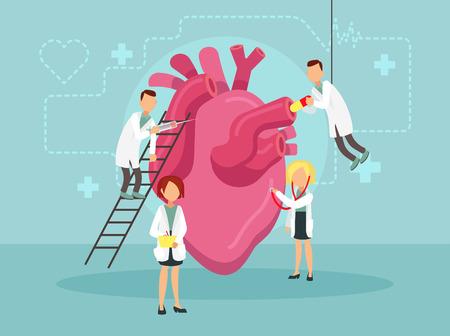 Doctors treat a sick heart. Vector illustration.