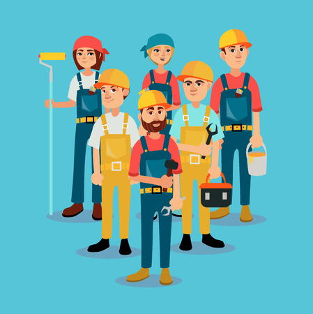 The brigade of builders in bright working clothes. Vector illustration