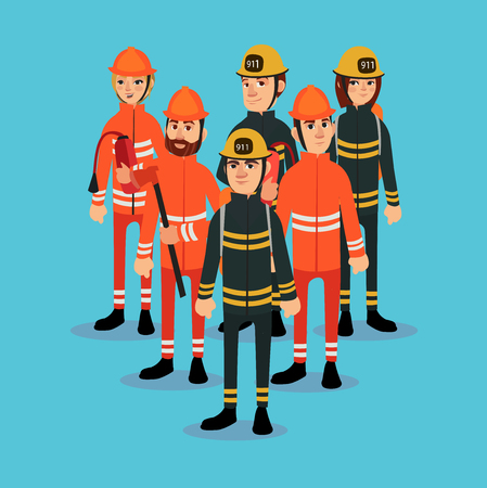 The fire brigade in bright work clothes. Vector illustration Stock Illustratie