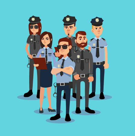 The squad of policemen in work clothes. Vector illustration