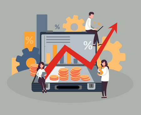 People do business, watch graphs and calculate profits. Vector illustration.