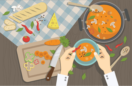 The cook prepares delicious dishes. Vector illustration. Stockfoto
