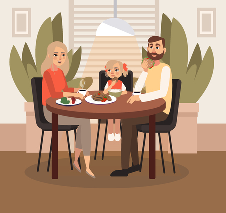 A married couple with a child is having breakfast. Vector illustration. Stock Illustratie