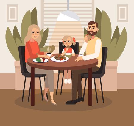 Ein Ehepaar mit Kind frühstückt. Vektor-Illustration.