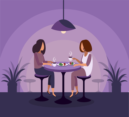 Young girls are sitting in a bar and drinking cocktails. Vector illustration Stockfoto