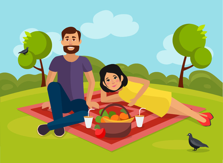 Love couple on a picnic in nature. Vector illustration.