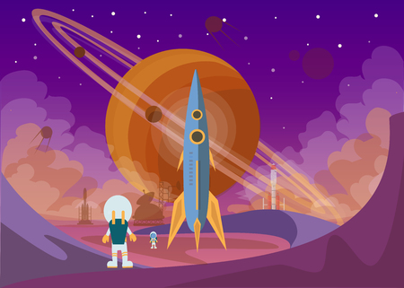 The man on Mars. Against the background of shuttles, spacecraft and satellites. Vector illustration. Stock Illustratie