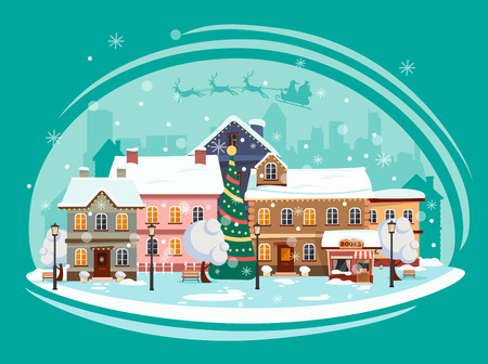 Landscape of the city decorated for a happy Christmas holiday. Vector illustration. Stock Illustratie