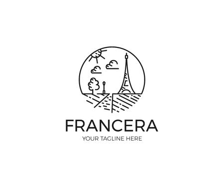 Paris Landmarks Linear Logo Template. France Eiffel Tower Line Vector Design. Traveling Illustration