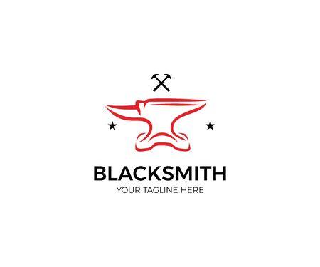 Anvil Logo Template. Blacksmith Vector Design. Vintage Line Illustration