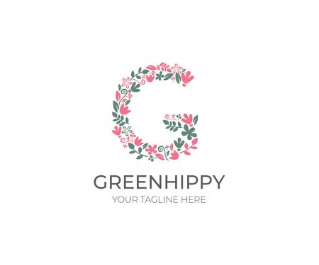 Floral Letter G Logo Template. Nature Vector Design. Landscape Design Illustration
