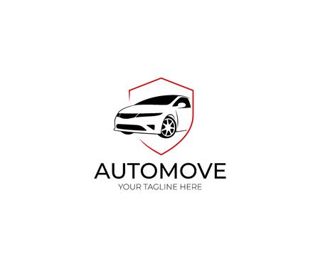 Modello di Logo di auto e scudo. Disegno vettoriale automobilistico. Illustrazione di trasporto