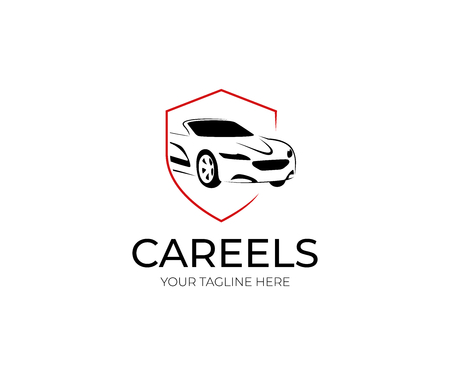 Car and Shield Logo Template. Automobile Vector Design. Transport Illustration Logó